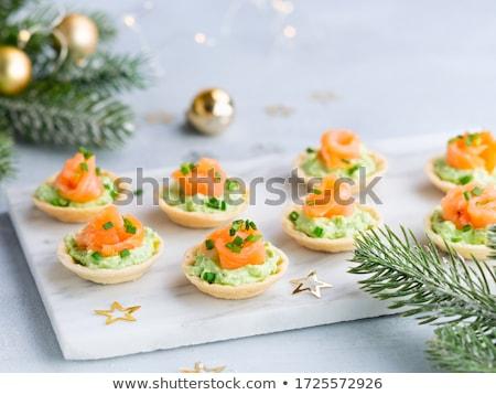 appetizer, avocado mousse and smoked salmon Stock photo © M-studio