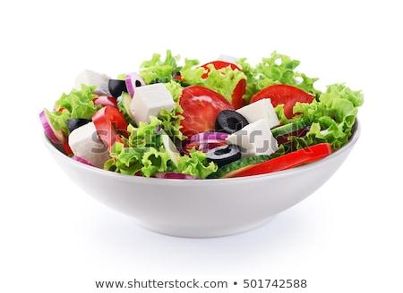 Yeşil salata peynir marul şeritler balsamik sirke Stok fotoğraf © Digifoodstock