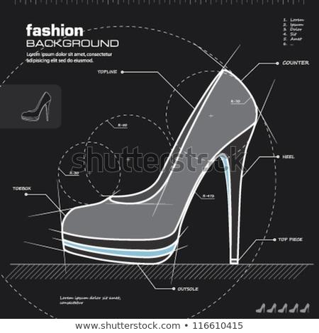 hölgy · magas · sarok · cipő · rajz · ikon · háló - stock fotó © rastudio