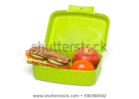 ストックフォト: ランチ · ボックス · 健康食品 · 表 · 食品 · リンゴ