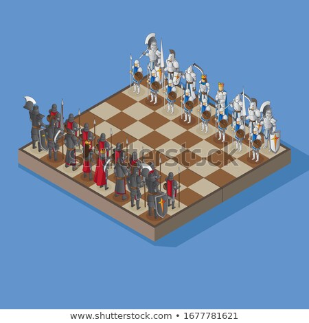 classical chessboard with chess figures in isometric view on white stock photo © evgeny89