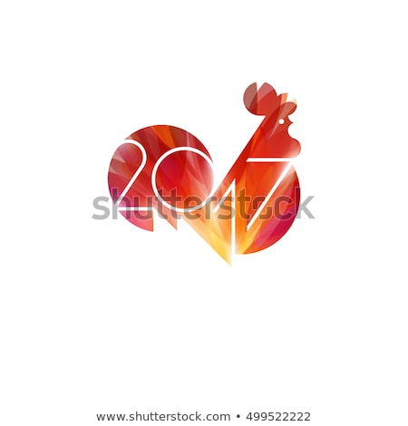 New Year design with silhouette of red fire rooster. Modern minimalistic vector illustration of cock Stock photo © ussr