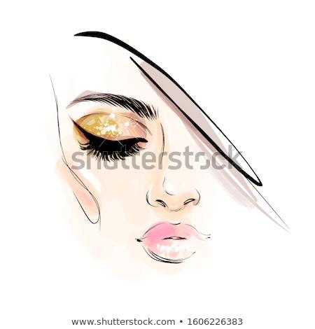 Illustrazione bella ragazza computer faccia moda design Foto d'archivio © Panaceadoll