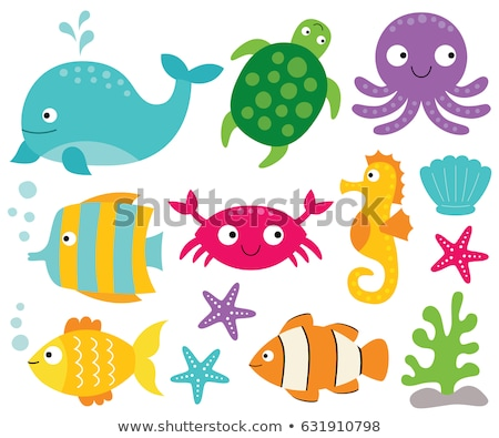 set of colored cartoon sea life or marine icons stock photo © adrian_n