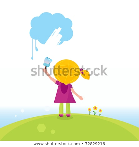 little artist kid painting on the sky in spring nature stock photo © lordalea