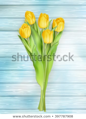 Yellow tulips flowers on wooden planks. EPS 10 Stock photo © beholdereye