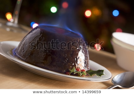 ストックフォト: クリスマス · プリン · ブランデー · 食品 · プレート · 料理
