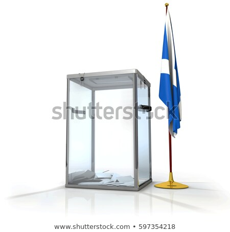 realistic empty transparent ballot box with voting paper flag of scotland 3d illustration stock photo © tussik