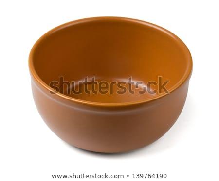 Barna cserépedények tál üres mély edény Stock fotó © Digifoodstock