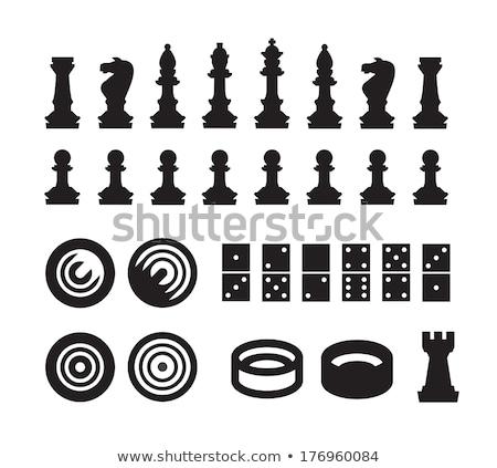 Piezas de ajedrez dominó blanco negro ilustración fondo arte Foto stock © bluering