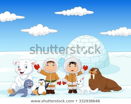 funny eskimo in the igloo Stock photo © adrenalina