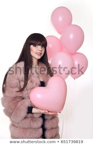 Сток-фото: молодые · улыбающаяся · женщина · моде · шуба · розовый