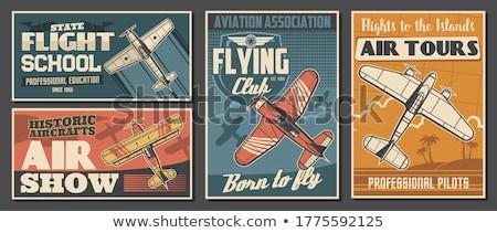 Repülőgép poszter repülőgép szalag piros kétfedelű repülőgép Stock fotó © Andrei_