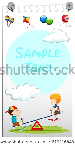 paper template with kids playing see saw stock photo © bluering
