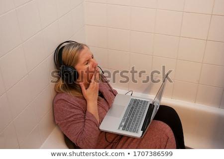 Stock foto: Frau · schlafen · Waschraum · bewusstlos · bar · WC