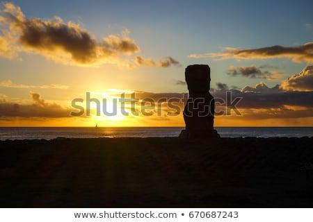 Foto stock: Estatua · puesta · de · sol · Isla · de · Pascua · Chile · cielo · océano