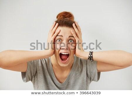 Beautiful female emotional reaction fear surprise Stock photo © studiostoks