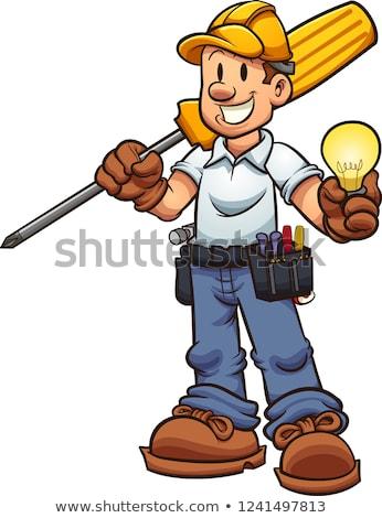 Cartoon Electrician Holding Screwdriver Stock photo © Krisdog