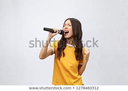 Retrato elegante belo cantora cantando sorridente Foto stock © julenochek