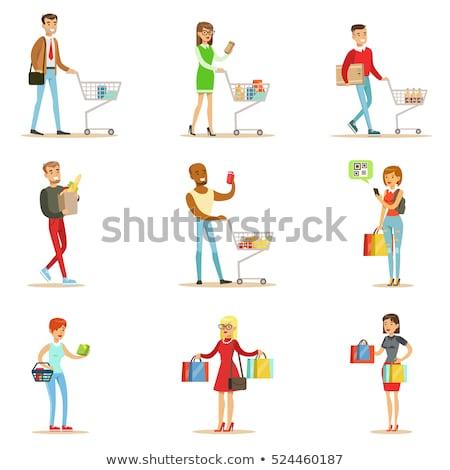 Kobieta torby papierowe zakupu codziennie produktów wektora Zdjęcia stock © robuart
