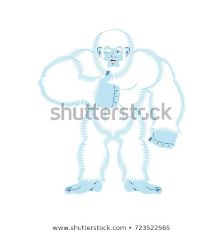 Bigfoot thumbs up. Yeti winks emoji. Abominable snowman cheerful Stock photo © popaukropa