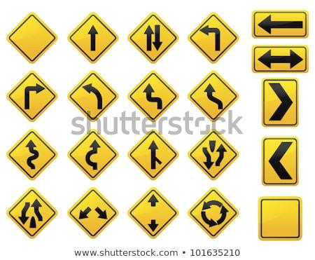 Bus lane, yellow sign with arrow Stock photo © stevanovicigor