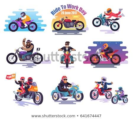 homem · sessão · motocicleta · ao · ar · livre · esportes · bicicleta - foto stock © is2
