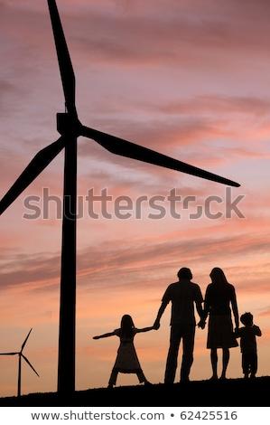 szélturbina · zöld · domb · tiszta · energia · felhős · kék · ég - stock fotó © is2