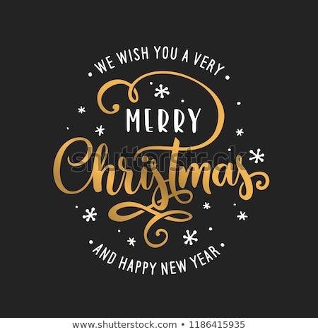 Wesoły christmas tekst kartkę z życzeniami odizolowany biały Zdjęcia stock © orensila
