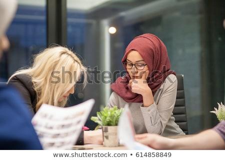 Muslim Woman Working On Computer In Office Stock photo © Jasminko