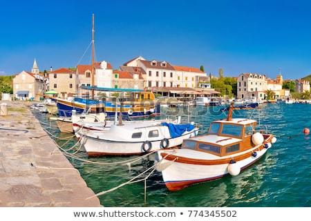 Sziget kikötő panorámakép kilátás szigetvilág Horvátország Stock fotó © xbrchx