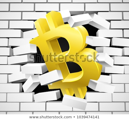 Bitcoin signe icône blanche mur de briques or Photo stock © Krisdog