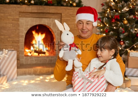 Children opening presents with granddad Stock photo © IS2
