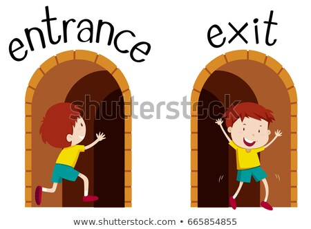 Сток-фото: Opposite Wordcard For Entrance And Exit