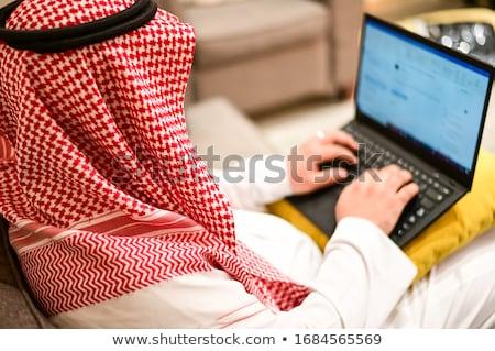 Arapça işadamı çalışma dizüstü bilgisayar sekreter belgeler Stok fotoğraf © studioworkstock