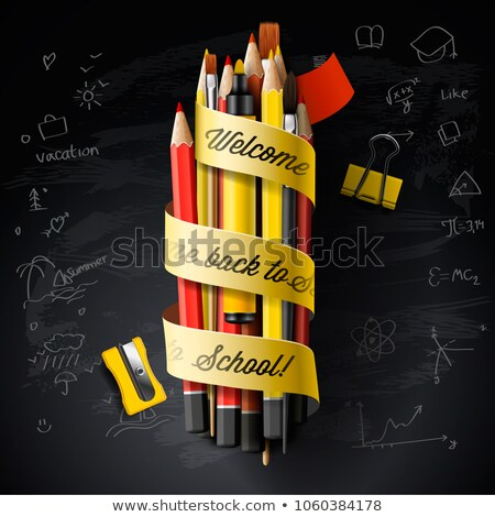 High detailed vector design template for Back to school. Black chalkboard, pencils, pen, and Welcome Stock photo © ikopylov