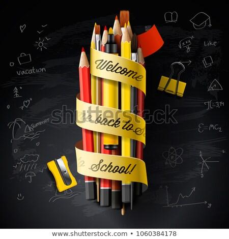 Hoog gedetailleerd vector ontwerpsjabloon terug naar school zwarte Stockfoto © ikopylov