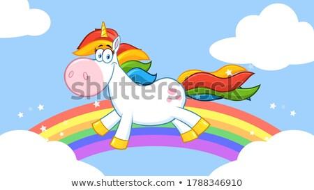 Smiling Magic Unicorn Cartoon Mascot Character Running Stock photo © hittoon
