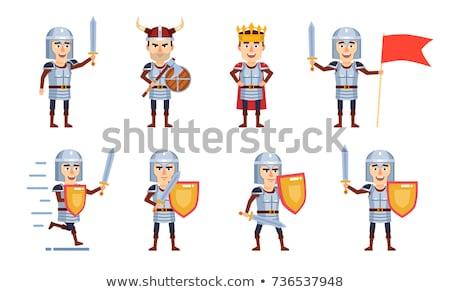 Desenho animado medieval cavaleiro escudo espada Foto stock © bennerdesign