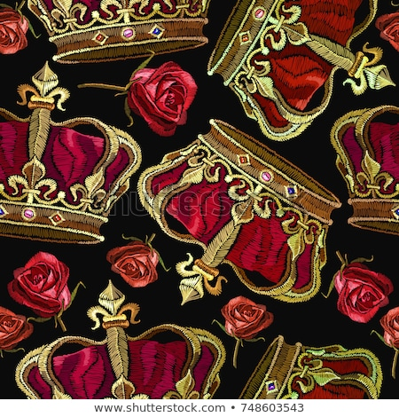 Seamless vector gold pattern with king crowns Stock photo © FoxysGraphic