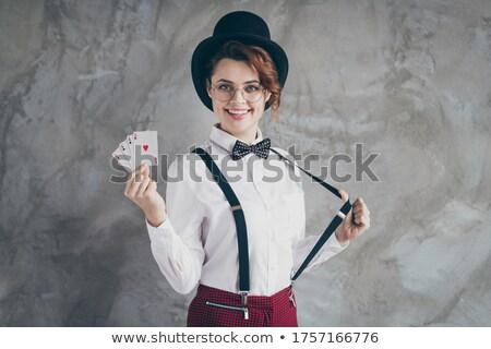 Kız oynama kart Stok fotoğraf © IS2