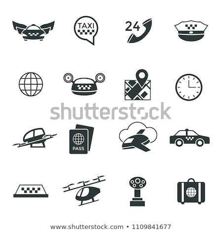 Digital vector flying taxi drone icon set Stock photo © frimufilms