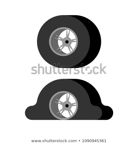 Flat tire and Whole wheel car. Vector illustration Stock photo © MaryValery