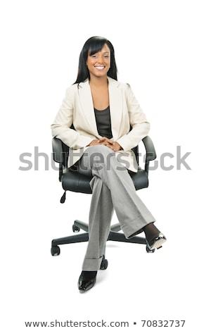 młodych · kobieta · interesu · posiedzenia · teczki · biały · studio - zdjęcia stock © monkey_business