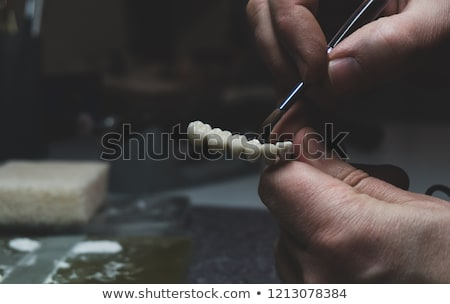 Dental technician make denture prothesis in dental laboratory Stock photo © adamr