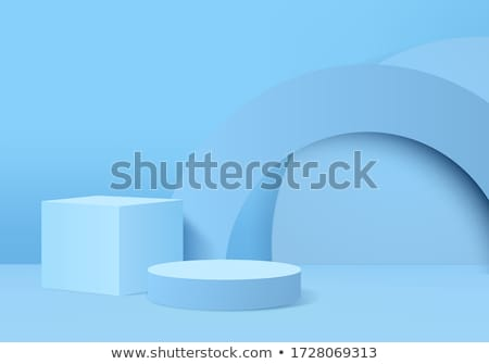 Podium plate-forme bleu mur studio montrent Photo stock © SArts