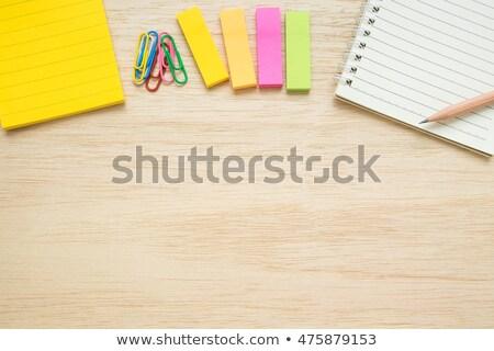 Cetlik fából készült hat színes iroda papír Stock fotó © CsDeli