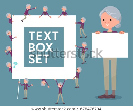 Stock photo: flat type Purple clothes grandmother_text box
