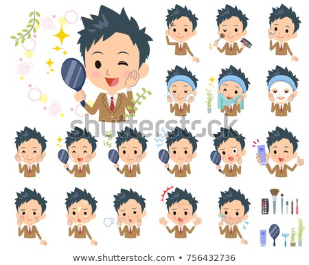 школьник коричневый лице красоту студентов мужчин Сток-фото © toyotoyo