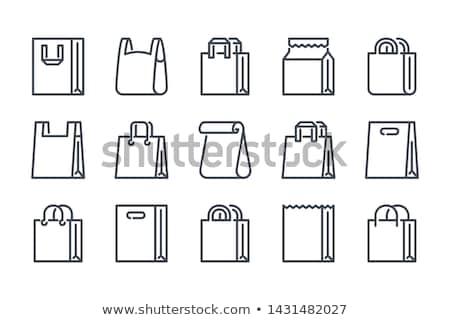Vektor papírzacskó ikonok izolált fehér papír Stock fotó © dashadima